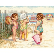 "Beach Babies Counted Cross Stitch Kit, 14""X11"" 14 Count"