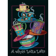 "A Whole Lotta Latte Counted Cross Stitch Kit, 11""X14"" 14 Count"
