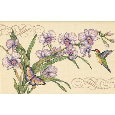 Orchids & Hummingbirds Counted Cross Stitch Kit, 14