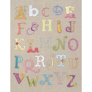 "Alphabet Sampler Free Style Embroidery Kit, 12""X9-1/2"" Stitched In Cotton Floss"