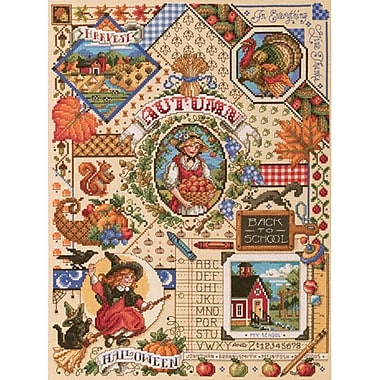 Autumn Sampler Counted Cross Stitch Kit, 18