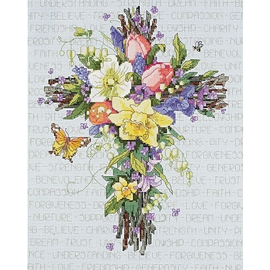 Spring Floral Cross Counted Cross Stitch Kit, 11