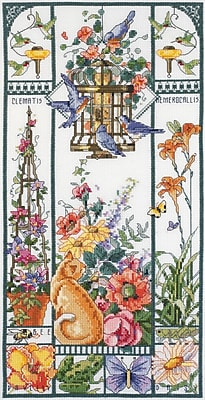 """""Summer Cat Sampler Counted Cross Stitch Kit, 8""""""""X16"""""""" 14 Count"""""" 32148"