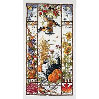 Autumn Cat Sampler Counted Cross Stitch Kit, 8