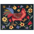 Rooster On Black Crewel Kit, 11in.X14in. Stitched In Wool & Thread