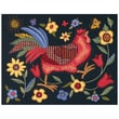 "Rooster On Black Crewel Kit, 11""X14"" Stitched In Wool & Thread"