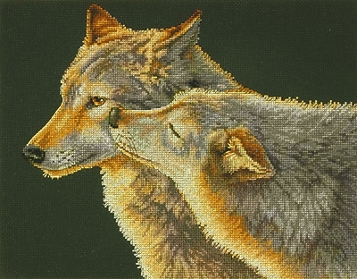 """""Wolf Kiss Counted Cross Stitch Kit, 14""""""""X11"""""""" 14 Count"""""" 32133"
