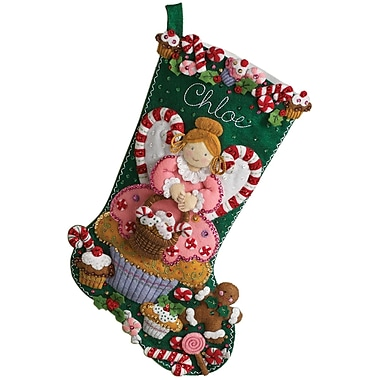 Cupcake Angel Stocking Felt Applique Kit, 18