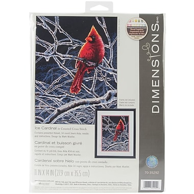 Ice Cardinal Counted Cross Stitch Kit, 11