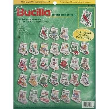 Tiny Stocking Ornaments Counted Cross Stitch Kit, 3-1/2