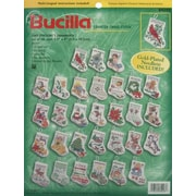 """Tiny Stocking Ornaments Counted Cross Stitch Kit, 3-1/2"""" 14 Count Set Of 30"""