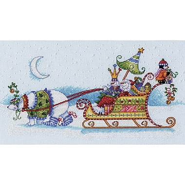 Snow Bear And Sleigh Counted Cross Stitch Kit, 14