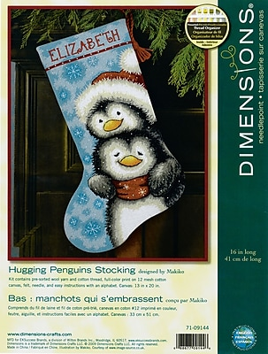 """""Hugging Penguins Stocking Needlepoint Kit, 16"""""""" Long Stitched In Wool & Thread"""""" 32229"