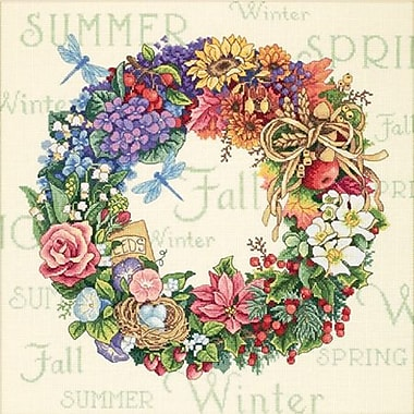Gold Collection Wreath Of All Seasons Counted Cross Stitch Kit, 14