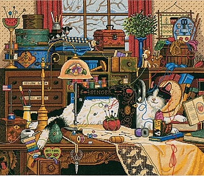 """""""""""Gold Collection Maggie The Messmaker Counted Cross Stitch Ki, 14""""""""""""""""X12"""""""""""""""" 18 Count"""""""""""" 33351"""