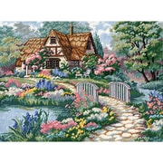 """Cottage Retreat Needlepoint Kit, 16""""X12"""" Stitched In Thread"""
