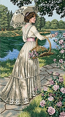 """""""""""Gold Collection A Summer Stroll Counted Cross Stitch Kit, 10""""""""""""""""X18"""""""""""""""" 18 Count"""""""""""" 33414"""