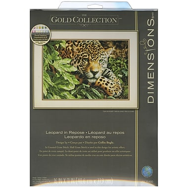 Gold Collection Leopard In Repose Counted Cross Stitch Kit, 16
