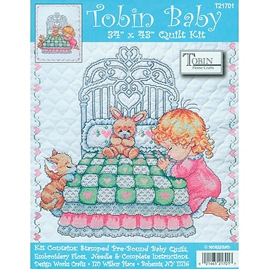 Bedtime Prayer Girl Quilt Stamped Cross Stitch Kit, 34