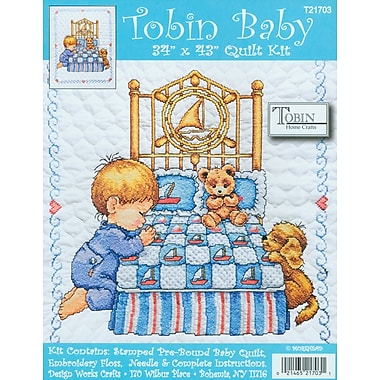 Bedtime Prayer Boy Quilt Stamped Cross Stitch Kit, 34