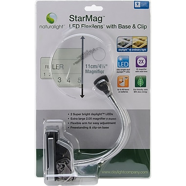 Naturalight StarMag LED Flexilens With Base & Clip, Black/Silver