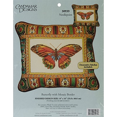 """""Butterfly With Mosaic Border Needlepoint Kit, 14""""""""X17"""""""" Stitched In Floss"""""" 31168"