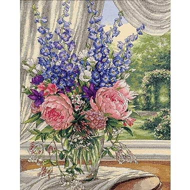 Gold Collection Peonies/Delphiniums Counted Cross Stitch Kit, 12