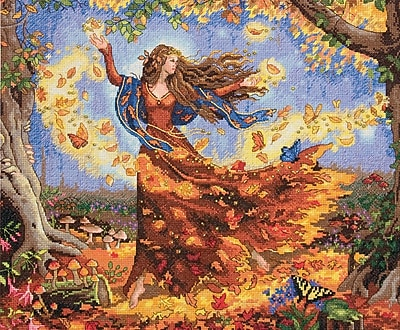 """""Gold Collection Fall Fairy Counted Cross Stitch Kit, 14""""""""X12"""""""" 14 Count"""""" 32115"