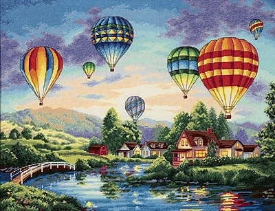 """""""""""Gold Collection Balloon Glow Counted Cross Stitch Kit, 16""""""""""""""""X12"""""""""""""""" 18 Count"""""""""""" 32787"""