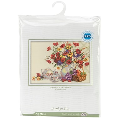 Garden Tea Party Counted Cross Stitch Kit, 13-3/4