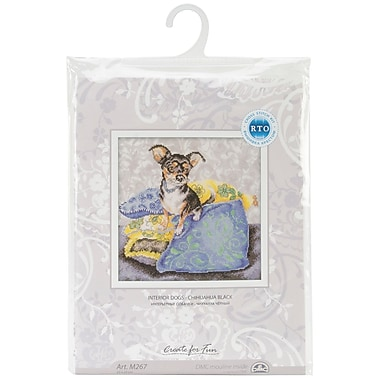 Black Chihuahua Counted Cross Stitch Kit, 9-3/4x9-3/4