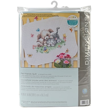 Pet Friends Baby Quilt Stamped Cross Stitch Kit, 43