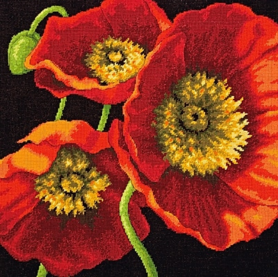 """""Red Poppy Trio Needlepoint Kit, 14""""""""X14"""""""" Stitched In Wool & Thread"""""" 32266"