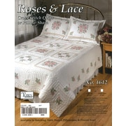 """Tobin® Roses & Lace Stamped Cross Stitch Quilt , 90"""" x 103"""", Double"""