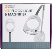 Mighty Bright LED Floor Light & Magnifier, Grey & Black
