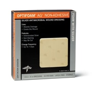 Medline® Curad® Optifoam Antimicrobial Foam Non-Adhesive Dressing, 4 x 4, 10/Box