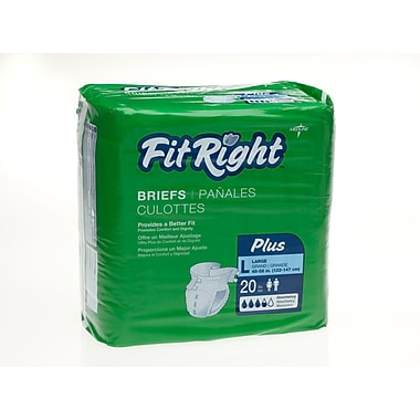 Medline® FitRight® Plus Clothlike Briefs, Large (48in. - 58in.), 80/Pack