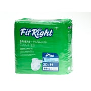 "Medline® FitRight® Plus Clothlike Briefs, Large (48"" - 58""), 20/Pack"