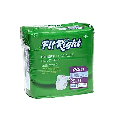 Medline® FitRight® Ultra Clothlike Briefs, Regular (40in. - 50in.), 80/Pack