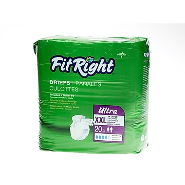 Medline® FitRight® Ultra Clothlike Briefs, 2XL (60in. - 69in.), 20/Pack