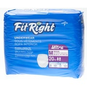 Medline® FitRight® Ultra Protective Underwear, Medium (28 - 40), 80/Pack