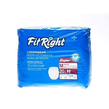 Medline® FitRight® Super Protective Underwear, Medium (28in. - 40in.), 20/Bag