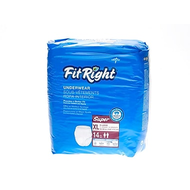 Medline® FitRight® Super Protective Underwear, XL (56in. - 68in.), 56/Pack