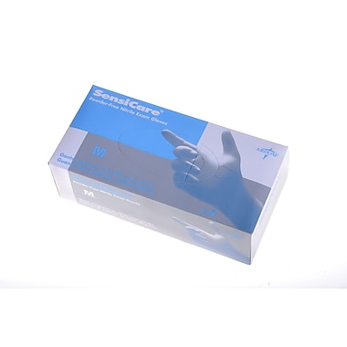Medline® SensiCare® Powder-Free Nitrile Exam Gloves, Blue, Large, 150/Box