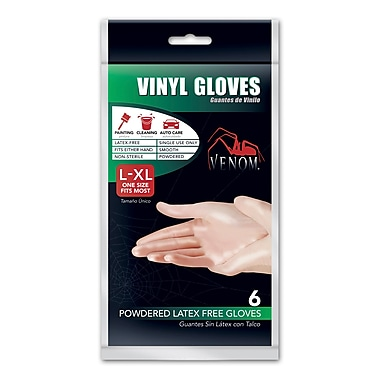 Medline® Venom™ Lightly Powdered Vinyl Gloves, Clear, Large/XL, 6/Pack