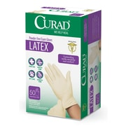 Medline® Curad® Powder-Free Full Textured Latex Exam Gloves, Beige, One Size