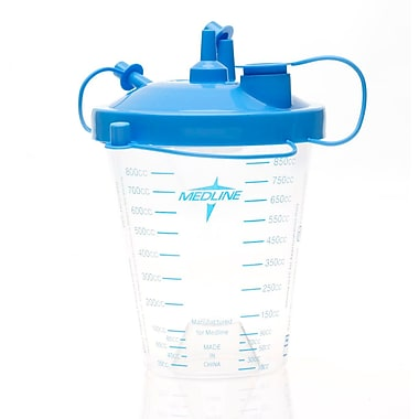 Medline® 850 CC Suction Canister With Float Lid, Clear, 12/Pack