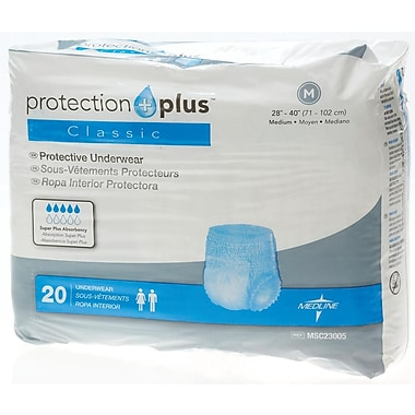 Medline® Protection Plus® Classic Protective Underwear, Medium (28in. - 40in.), 20/Bag
