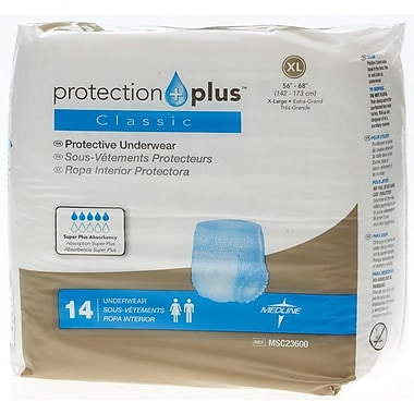 Medline® Protection Plus® Classic Protective Underwear, XL (56in. - 68in.), 14/Bag