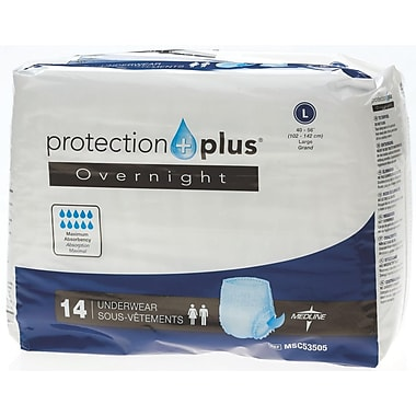 Medline® Protection Plus® Overnight Protective Underwear, Large (40in. - 56in.), 14/Bag
